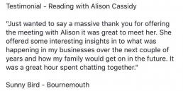 psychic-reading-testimonial-alison-cassidy-sunny-bird-bournemouth